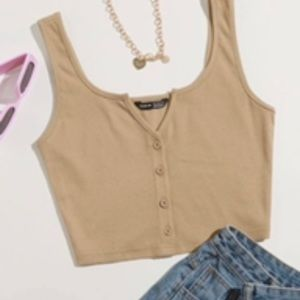 Tan cropped button up cami tank